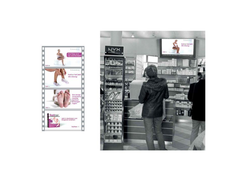 Der TV-Spot (Ausriss links) wurde an 13 Apotheken schweizweit im Healthcare-Channel getestet (Grafiken und Fotos: Excom Media)