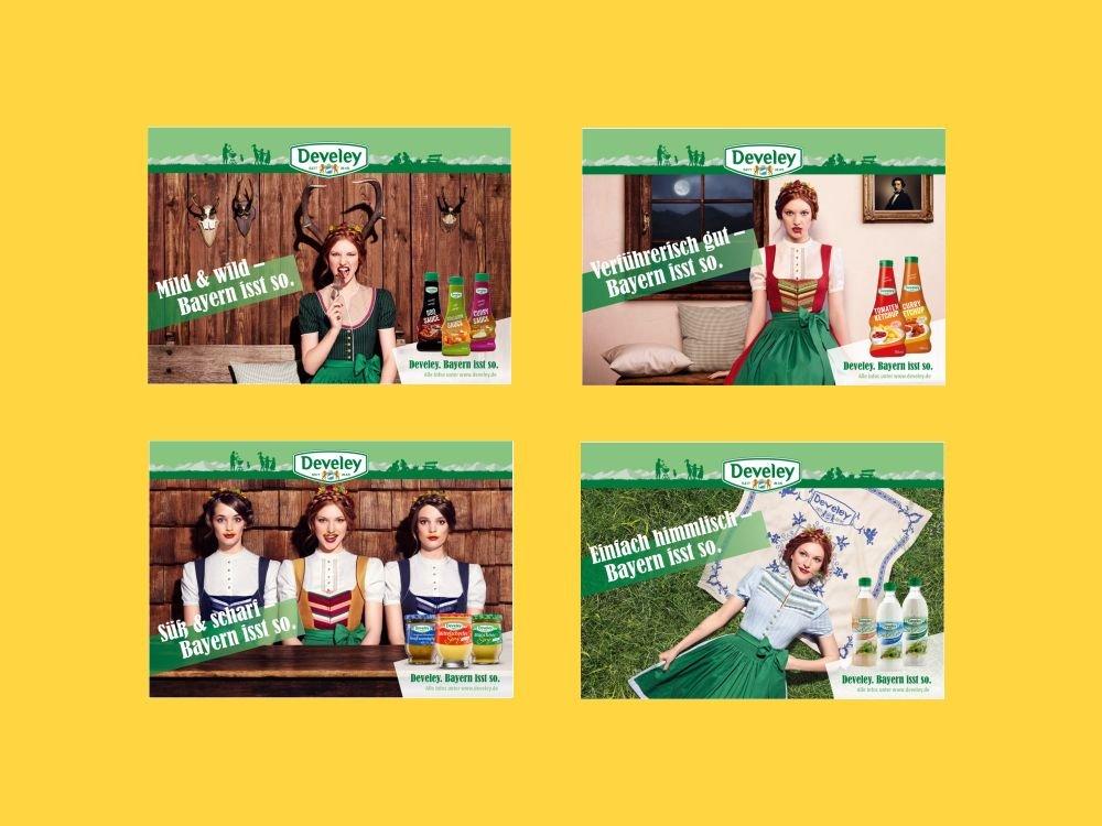 Dirndl passend zum Senf: Develeys neue Markenkampgne setzt auf freche Sprüche und Motive (Fotos: Serviceplan; Montage: invidis.de)