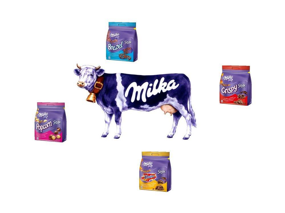 Seit 1973 im Dienst: die von von Young & Rubicam gestaltete Milka Kuh im Kreise der Marken-Kälbchen Milka Snax (Grafiken: Mondelez International; Montage: invidis.de)