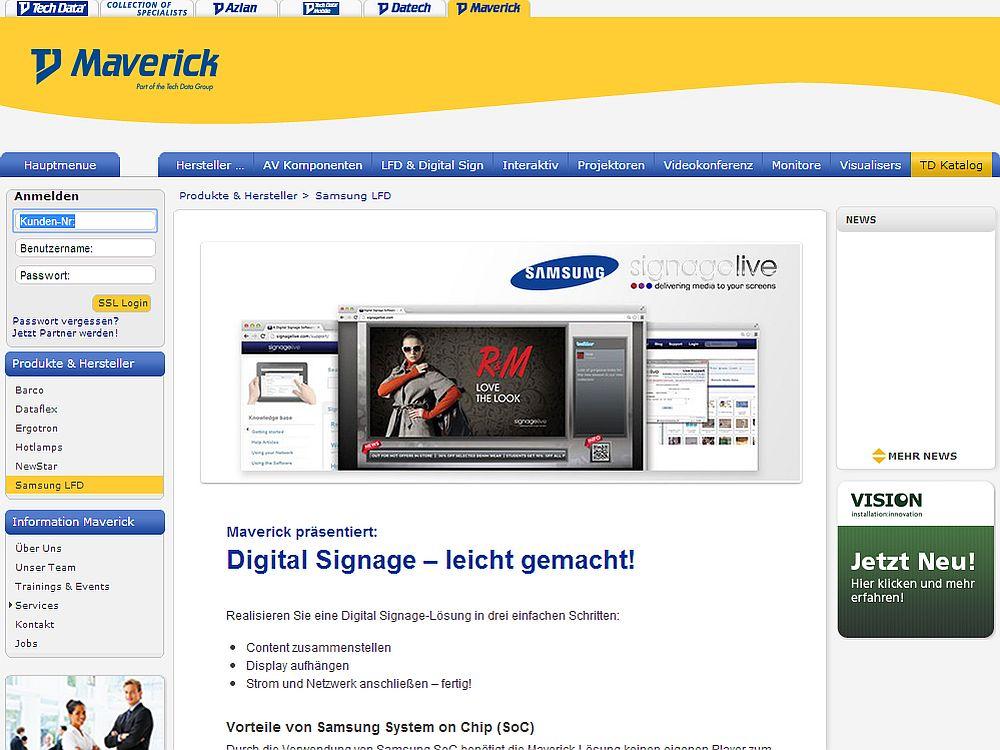 Website von TD Maverick: Samsung ist einer der Hersteller, mit denen TD Maverick zusammenarbeitet (Screenshot: invidis.de)