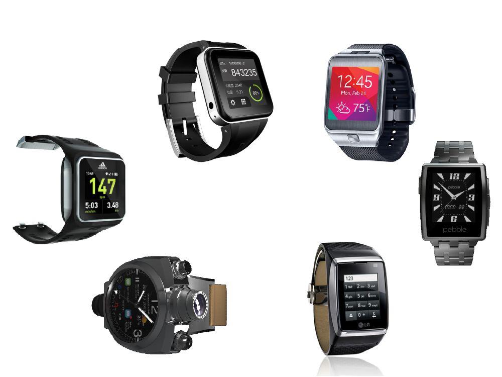 Smartwatches - im Uhrzeigersinn - von: Adidas, Geak Watch, Samsung, Pebble, LG und Hyetis (Fotos: Hersteller; Montage: invidis.de)