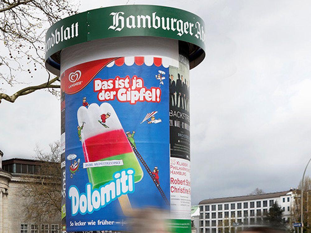 Dolomiti-Plakat in Norddeutschland (Foto: Ströer)