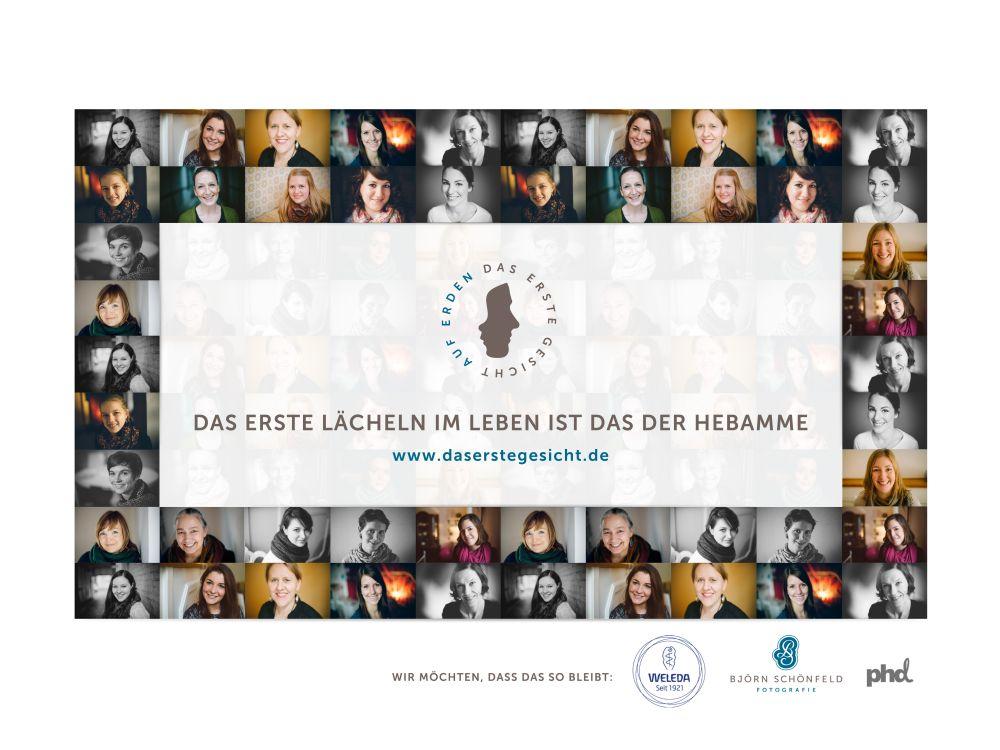 Das Plakatmotiv wirbt deutschlandweit mit den Konterfeis von mehr als 200 Hebamen (Foto: Ströer)