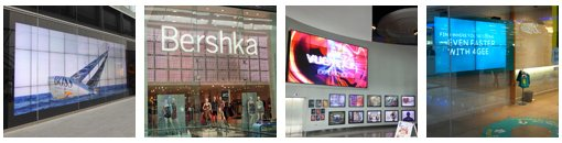 Digital Signage at London Westfield Stratford Mall - Image Gallery Shops (Please click on images to see the gallery)