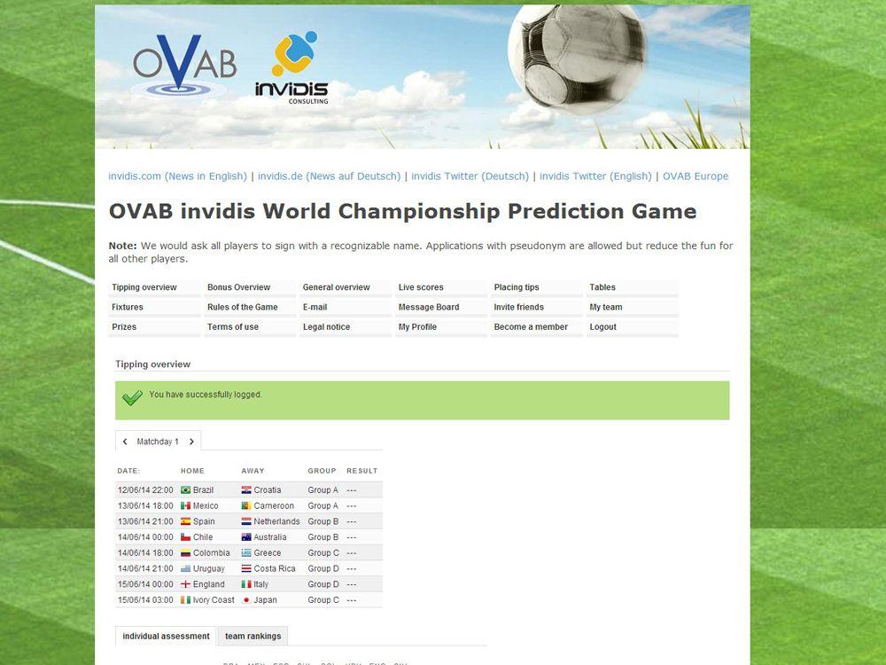 OVAB invidis World Championship Prediction Game
