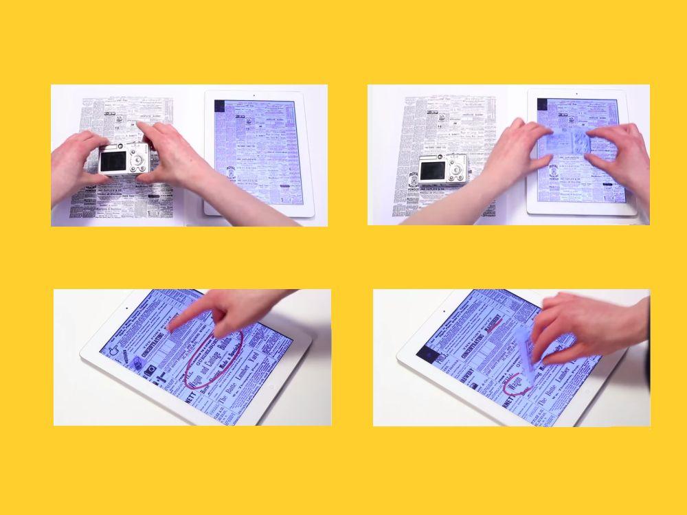 Knipsen echt (l.) und interaktiv; radieren (u.l.) und schreiben (u.r.) mit Gesten (Screenshots/ Grafik: invidis.de)