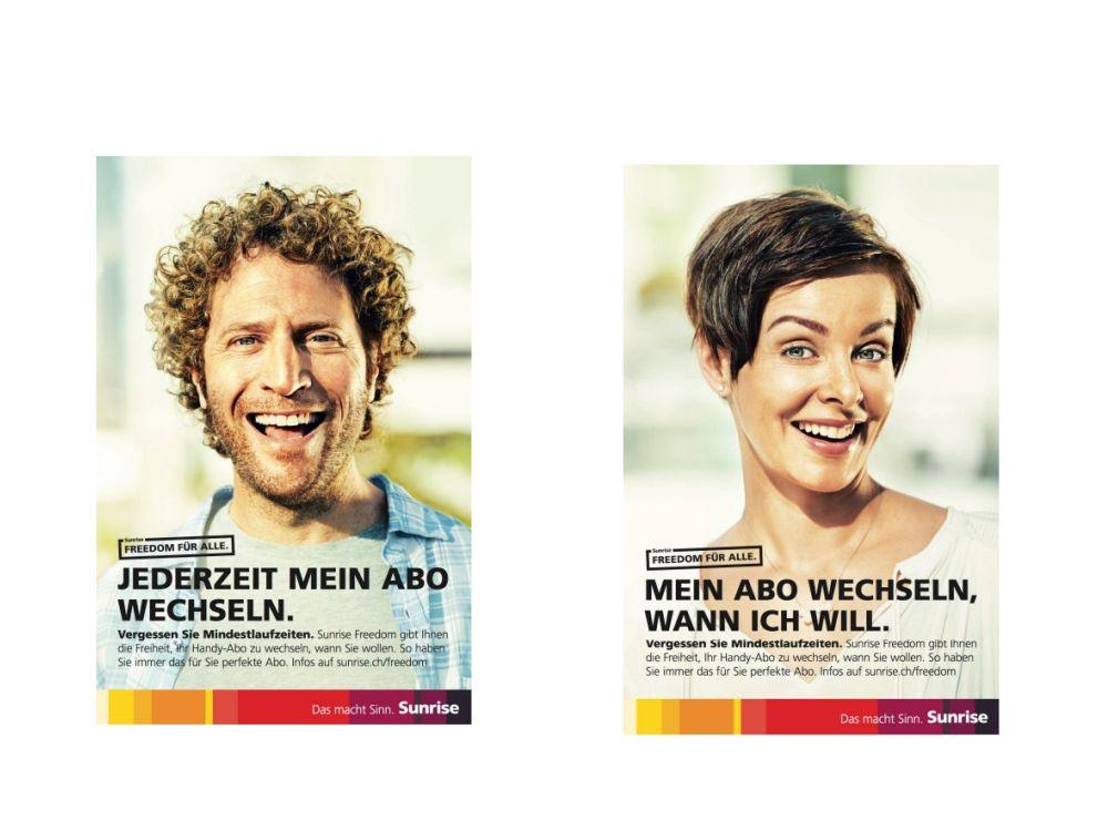 Im April 2014 gestartete Kampagne von Sunrise in der Schweiz (Fotos: TBWA Zürich)