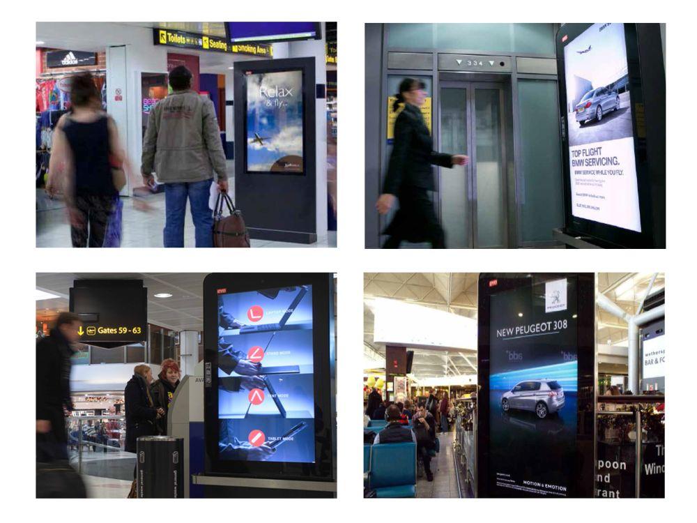 Digitale Werbeträger an britischen Flughäfen (F: Eye Airports; M: invidis.de)