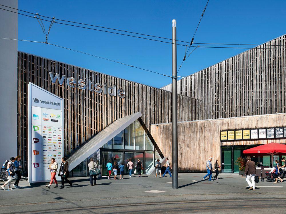 Außenansicht der Shopping Mall, die von der Neue Brünnen AG betrieben wird (Foto: Migros Aare)