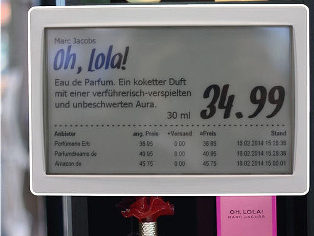 Electronic Shelf Label auf der EuroShop 2014 (Foto: Online Software AG)