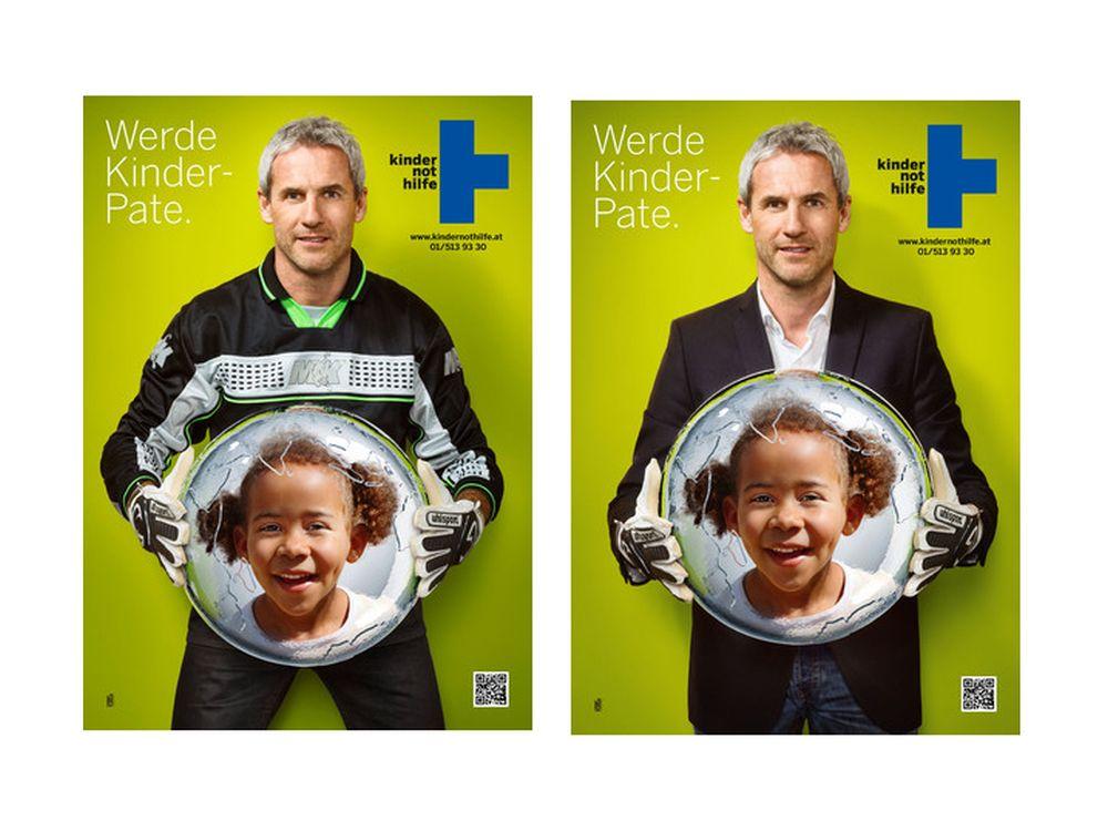 Kindernothilfe Österreich: Plakate mit Michael Konsel zur WM 2014 (Fotos: Kindernothilfe Österreich)