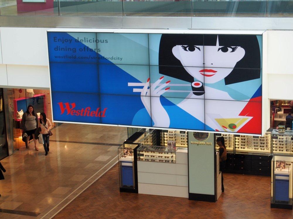 Digital Signage im London Westfield Stratford City Einkaufszentrum