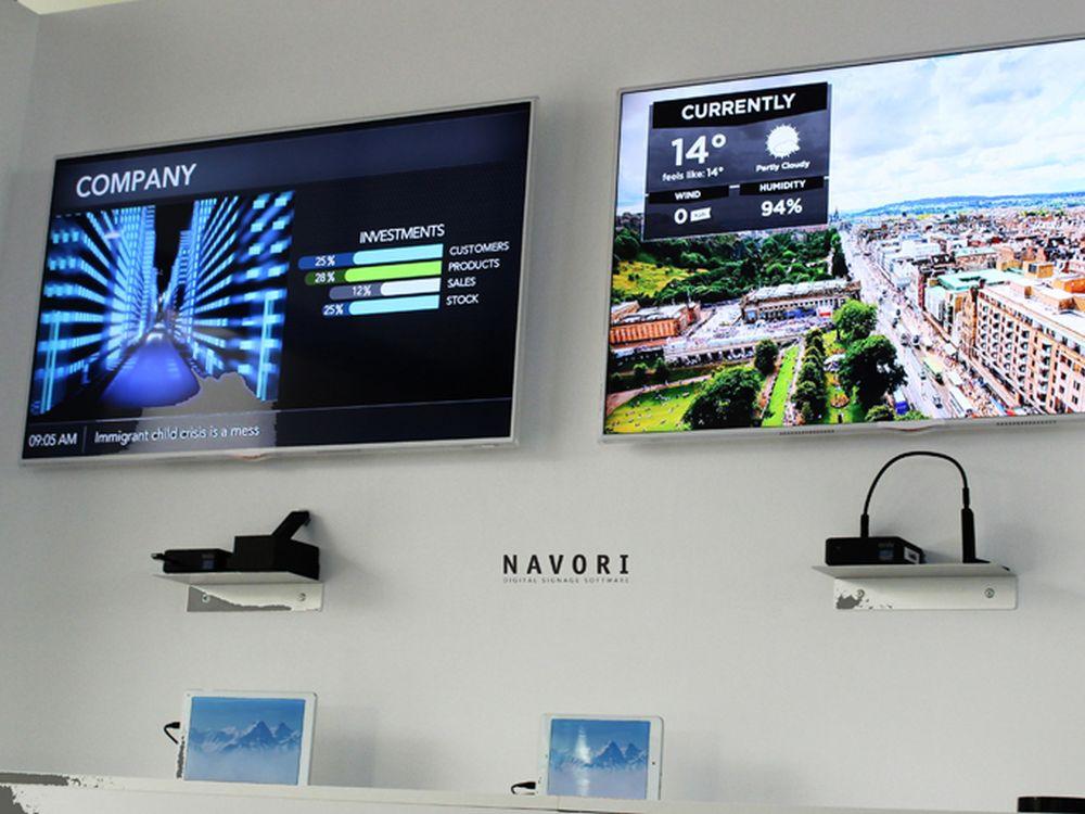 Displays und Tablets in Navoris Innovation Center (Foto: Navori)