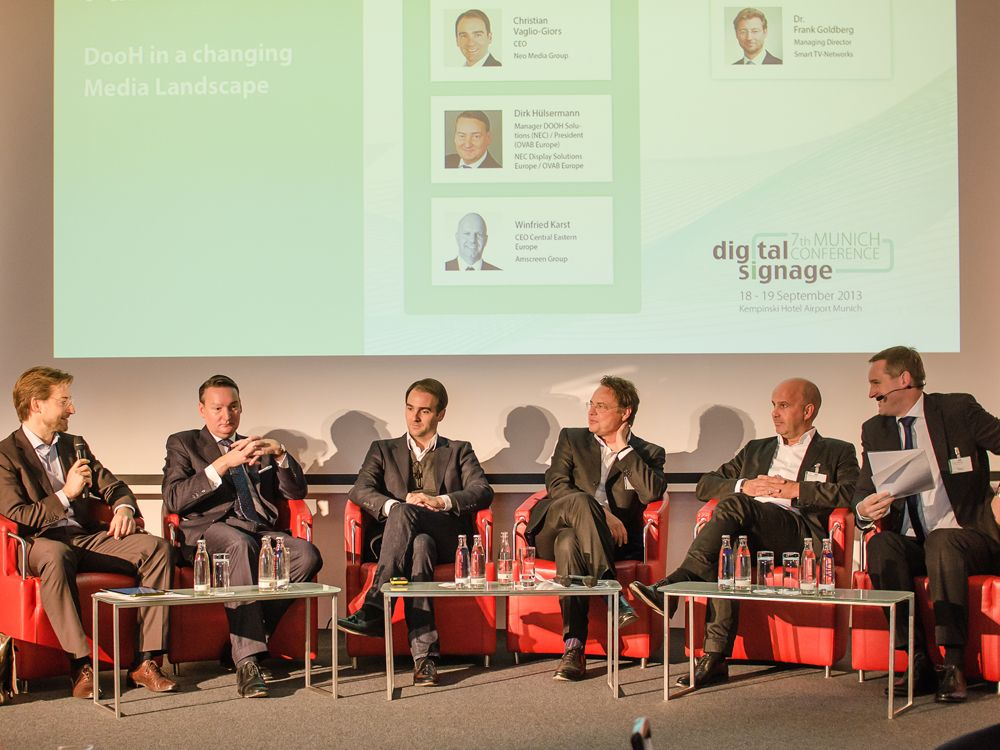 Das DooH Panel 2013 mit Dr. Frank Goldberg, Dirk Hülsermann, Christian Vaglio-Giors, Dr. Kai-Marcus Thäsler, Winfried Karst, Florian Rotberg
