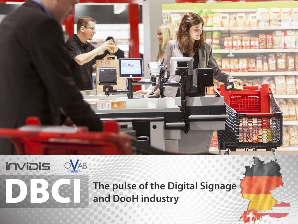 DBCI DACH Juli/August 2014: Retail schiebt DooH an (Grafik/ Montage: invidis.de; Foto: Wincor Nixdorf)