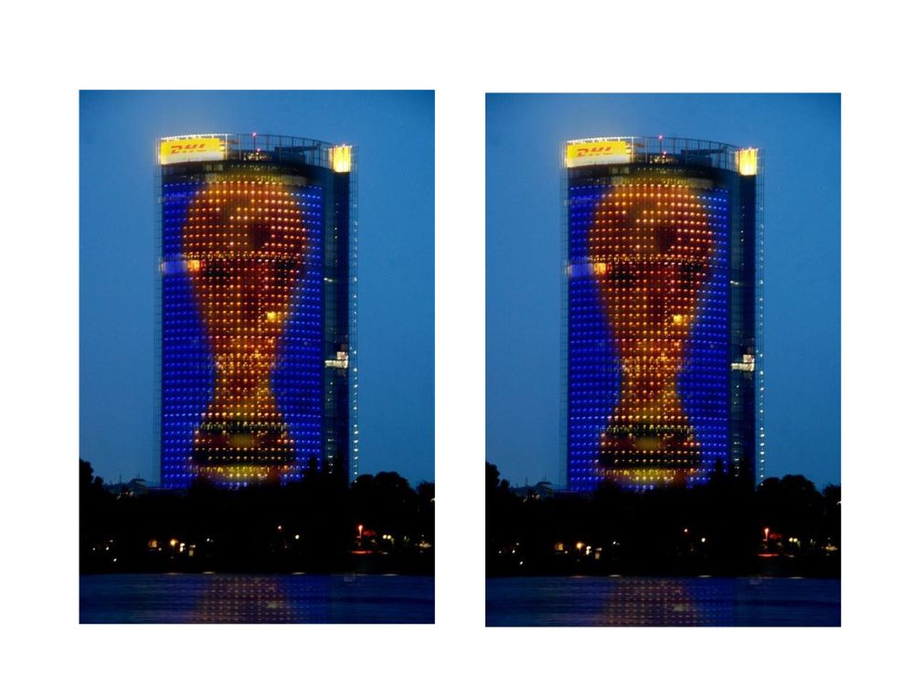 FIFA-WM-Pokal als Kunstwerk am Post Tower (Foto: DHL; Montage: invidis.de)