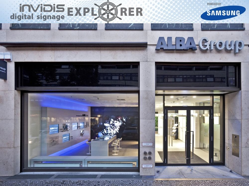 invidis Digital Signage Explorer Alba Group-Showroom Berlin (Quelle: ALBA Group)