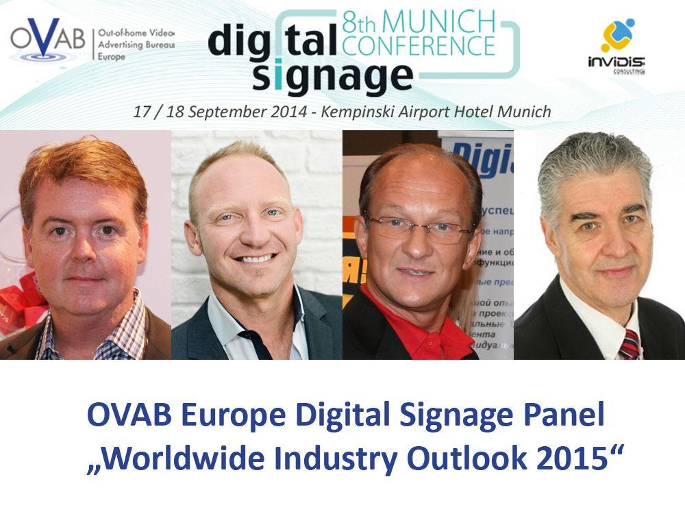 Das Digital Signage Panel mit Tom Nix, Brian Dusho, Vladimir Kozlov und Bob Raikes (Montage: invidis)