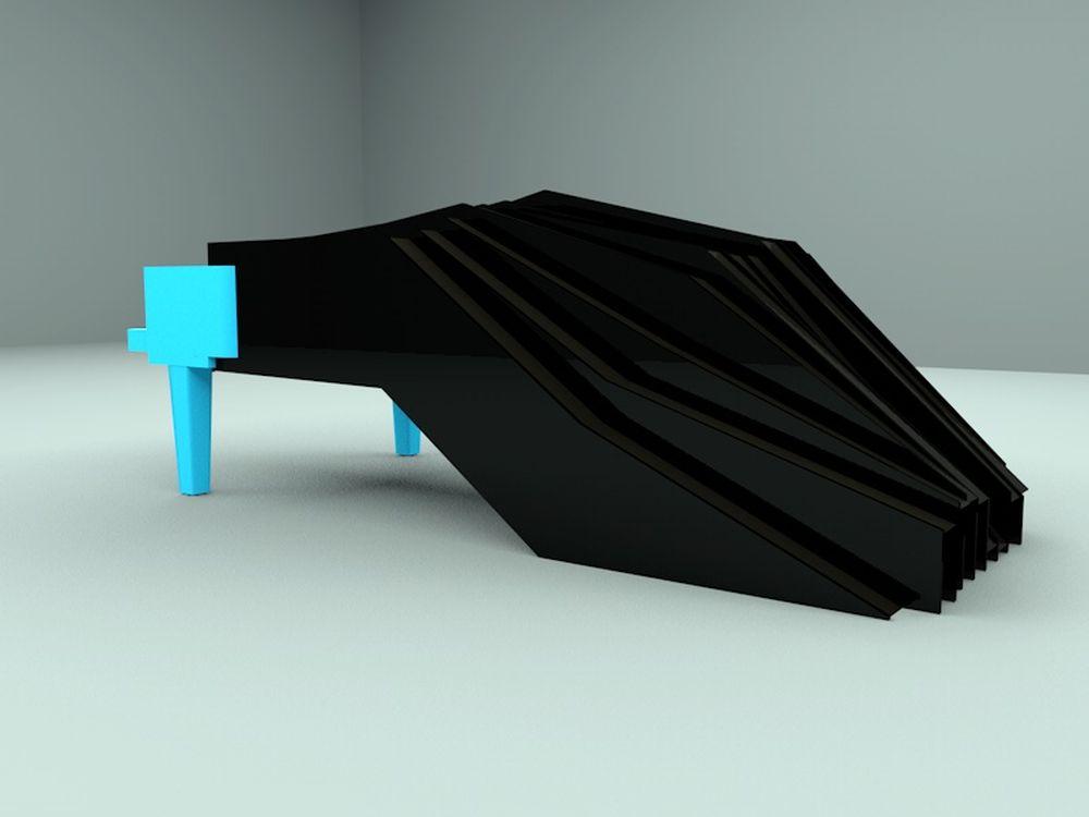 Fisheye-Piano:  3D Modell (Grafik/ Rendering: Michel Nols)