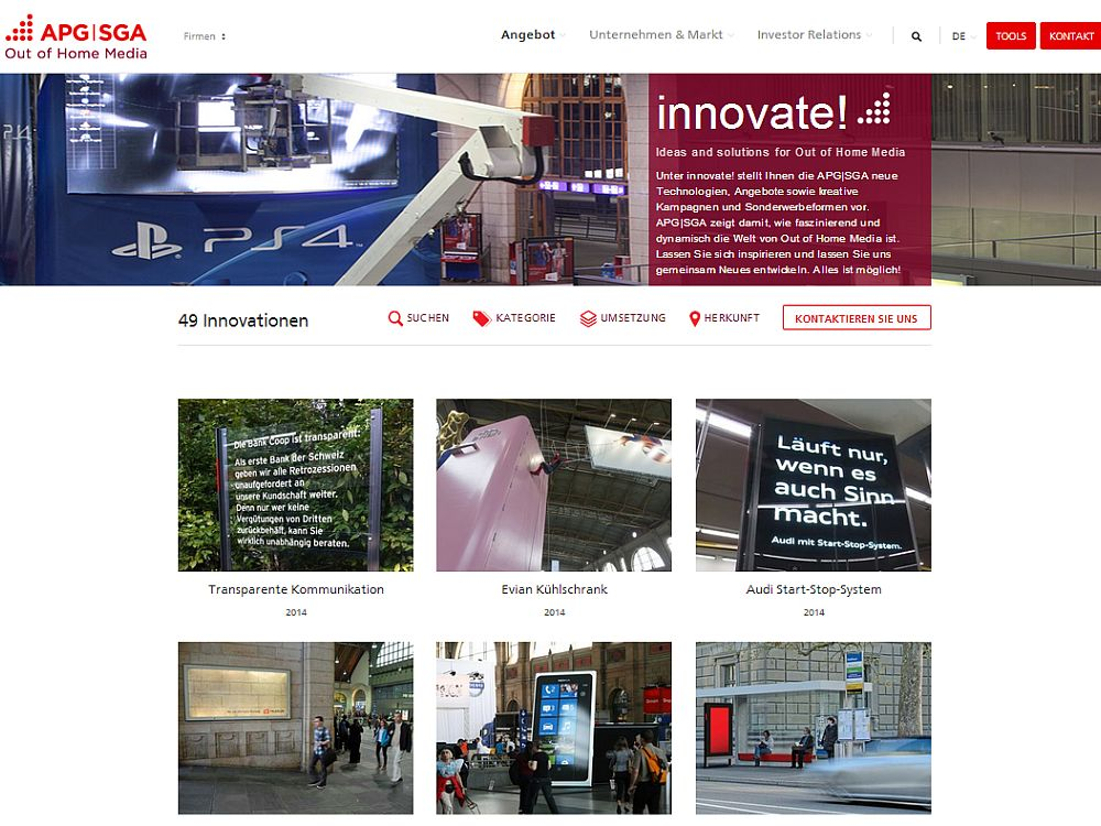 APG|SGA innovate!-Website (Screenshot: invidis.de)