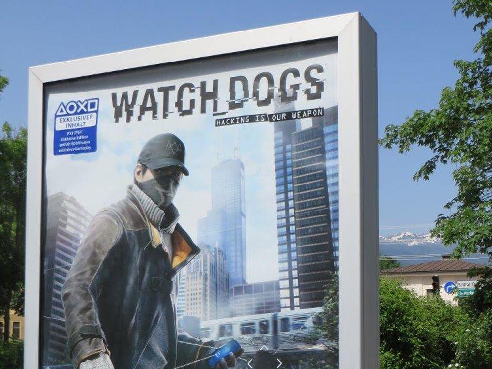 Klassisches Epamedia-Citylight mit Kampagne für das Computer Game watchdogs im Sommer 2014 (Foto: Epamedia)