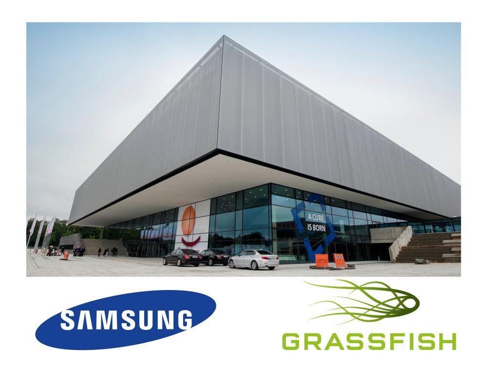IFA 2014: Grassfish zeigt SSSP-Umsetzungen bei Samsung im CityCube (Foto: Messe Berlin; Logos: Unternehmen)
