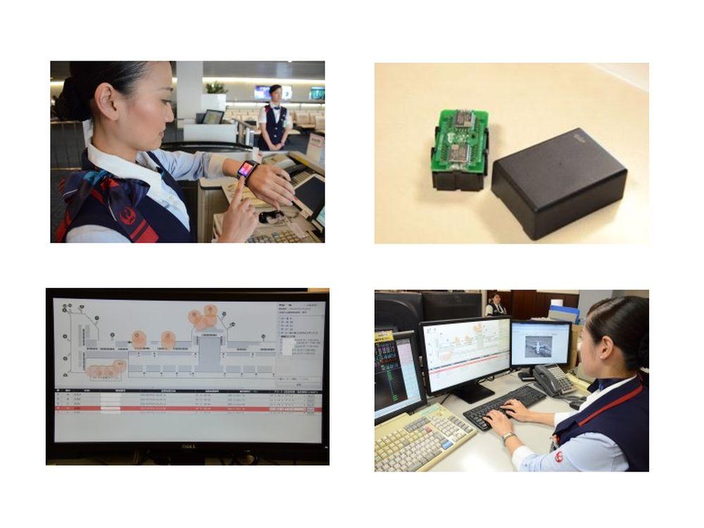 Mitarbeiterin mit Smartwatch, iBeacon, Raumplan auf Monitor, Back Office (Fotos: Japan Airlines)