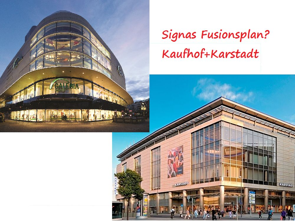 Will Signa Karstadt und Kaufhof funsionieren? (Fotos: Kaufhof, Karstadt; Montage: invidis.de)