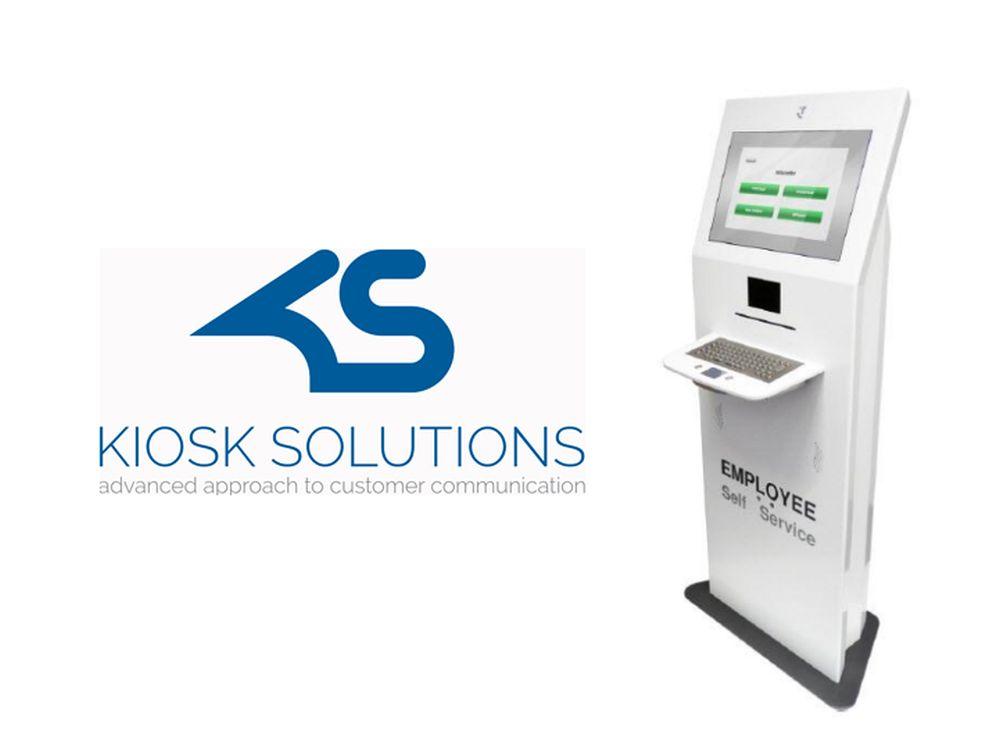 Kiosk Solutions: neues Logo und Self Service Terminal (Grafik und Foto: Kiosk Solutions)