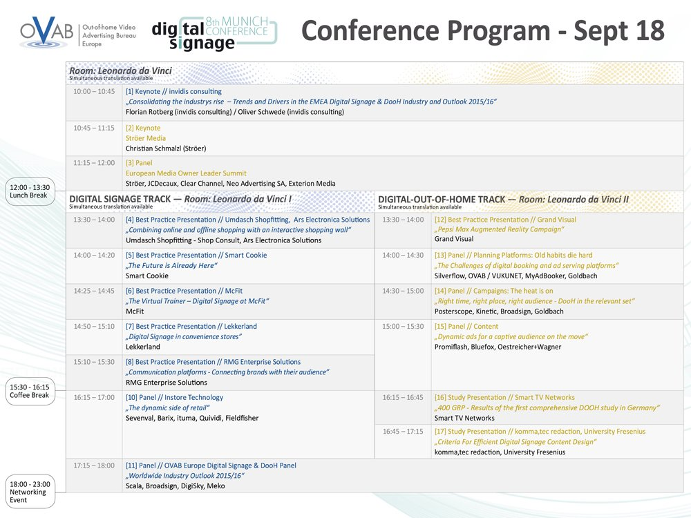 """Das Programm der """"8. OVAB Digital Signage Conference Munich"""""""