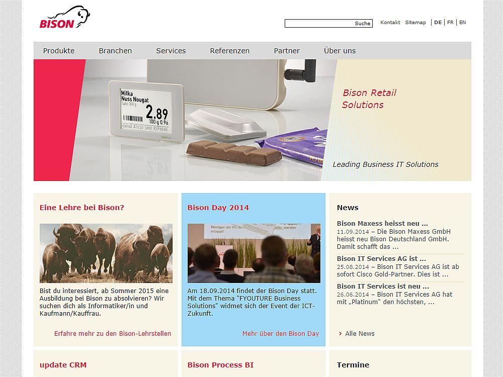 Bison Group-Website (Screenshot: invidis.de)