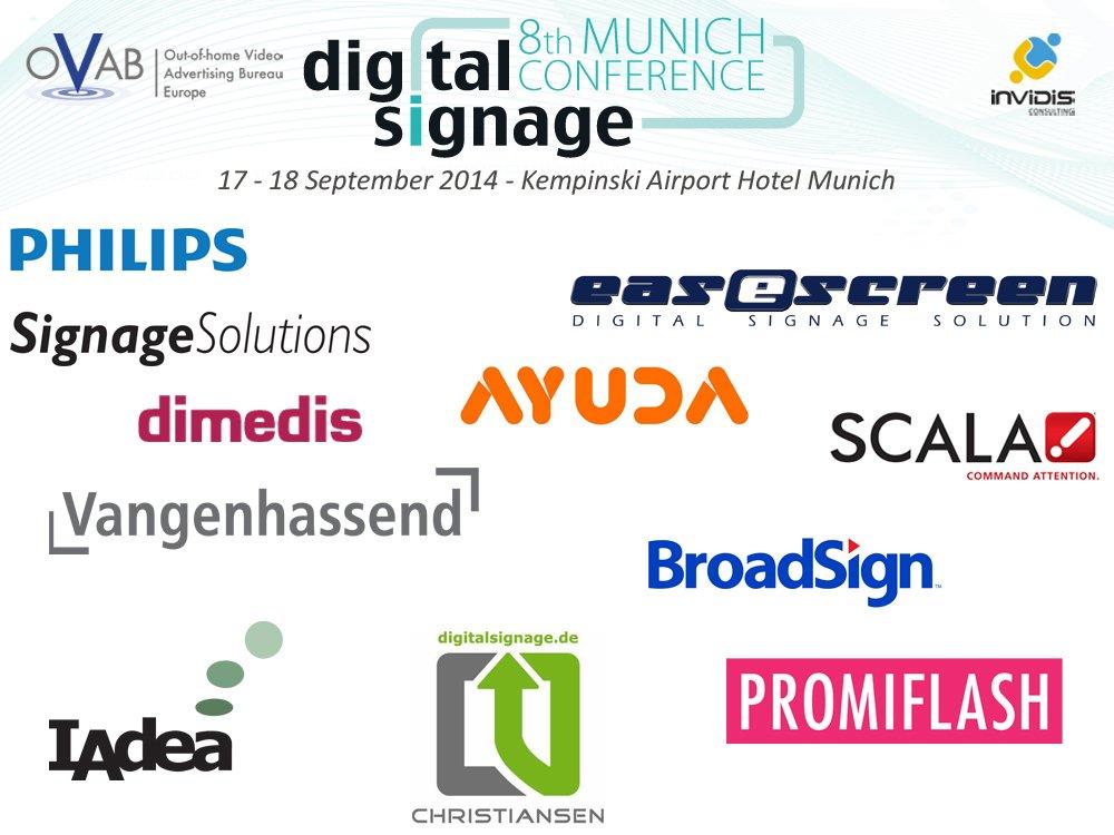 Konferenz-Sponsoren der OVAB Digital Signage Conference Munich 2014 (Montage: invidis)