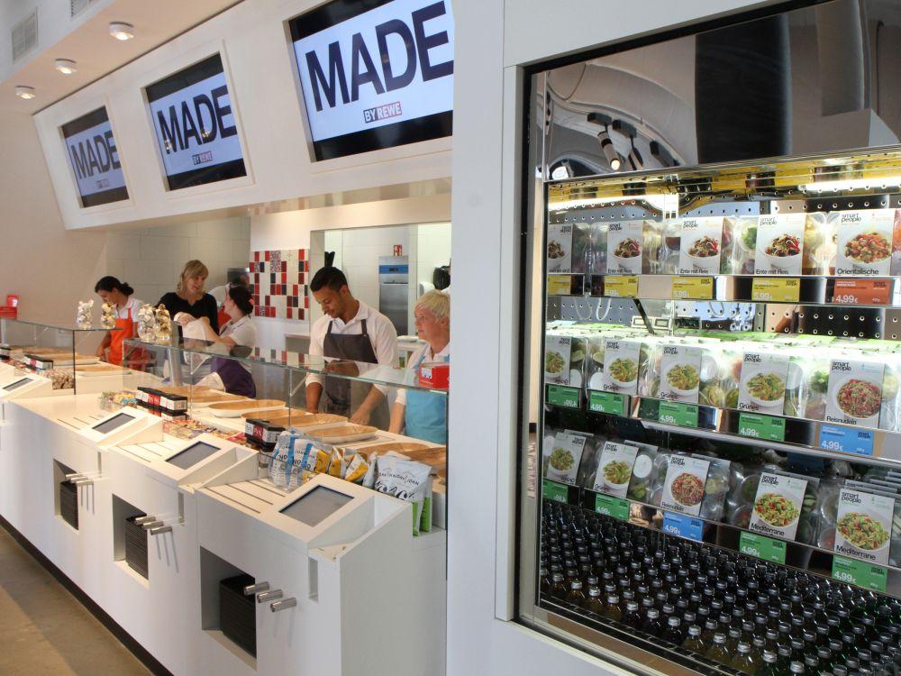 Theke im Made by Rewe am Waidmarkt in Köln (Foto: Rewe-Gruppe)