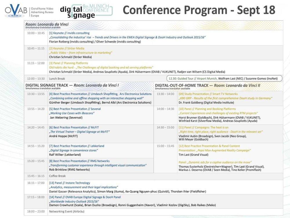 Das neuen Programm der 8. OVAB Digital Signage Confernce Munich (Bild: invidis)