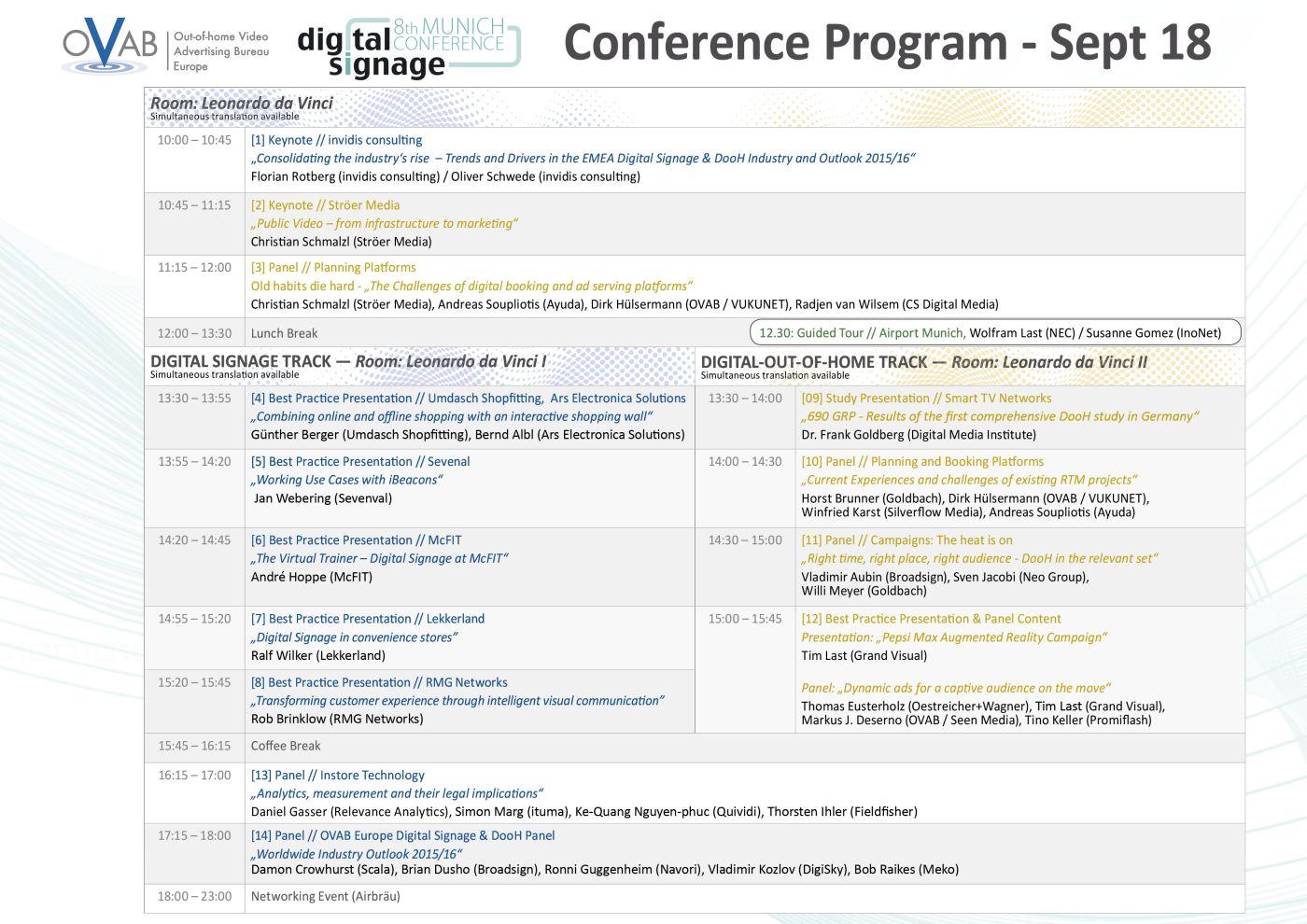 OVAB Digital Signage Conference Munich: Latest version of the conferne programm (Image: invidis)
