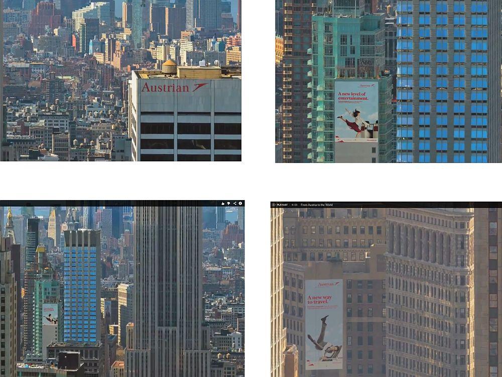 Gut platziert in den minutenlangen Zooms durch Manhattan: Außenwerbung für Austrian Airlines (Screenshots: invidis.de)