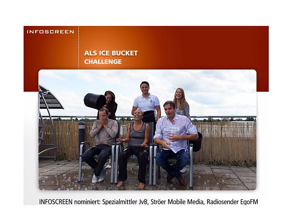 IceBucketChallenge -Infoscreen nominiert JvB und Ströer Mobile sowie EgoFM (Screenshot: invidis.de)