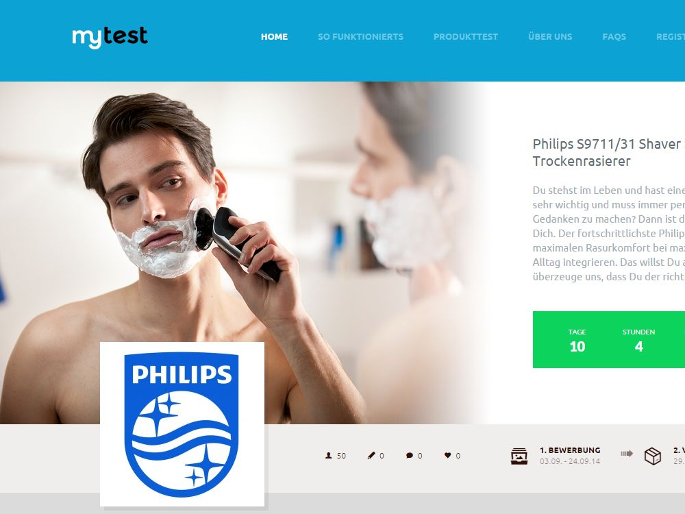 mytest.de: Kampagnenmotiv für den Philips Shaver 9000 (Screenshot: invidis.de)