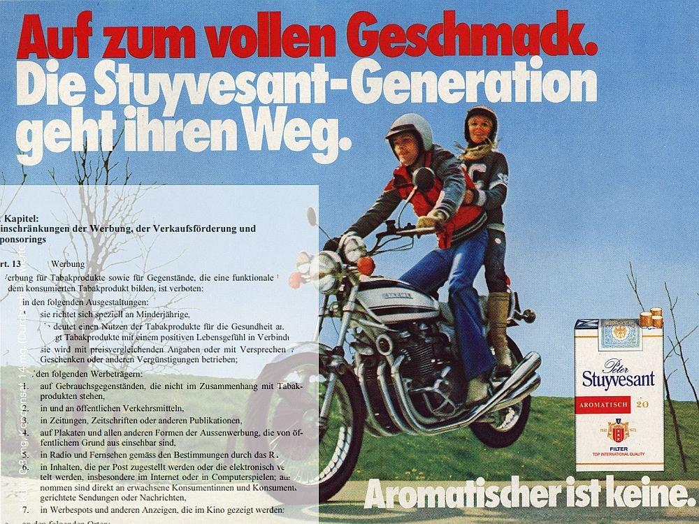 Historische Tabakwerbung und Gesetzentwurf (Foto: Reemtsma; Screenshot: Gesetz-Vorentwurf; Montage: invidis.de)