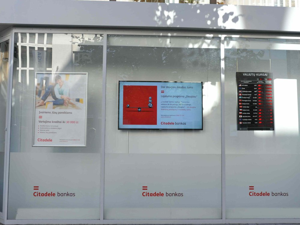 "Samsung Smart Signage in ""Citadele"" bankas in Lithuania (Image: Hansab)"