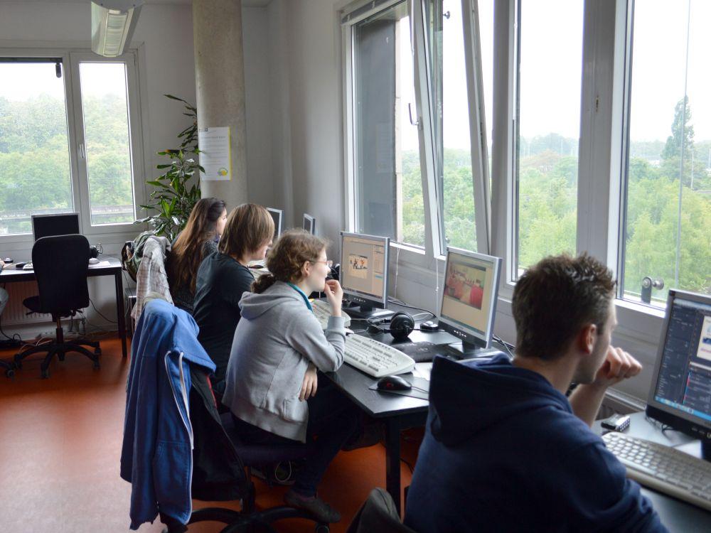 Digital Signage-Workshop von dimedis bei der sk stiftung jugend und medien (Foto: dimedis)