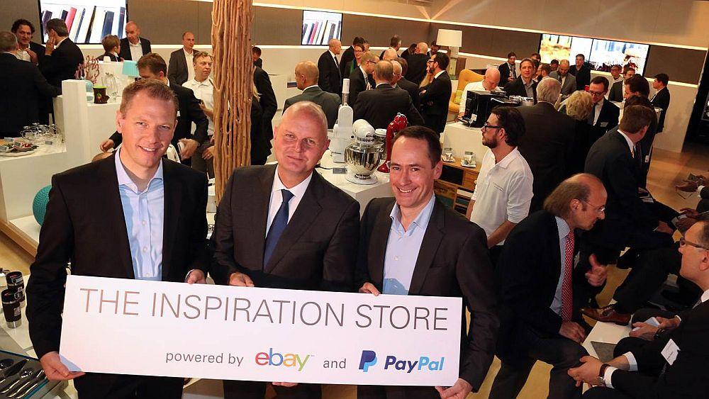 Die 3 Brüder vom Inspiration Store (v.l.nr.): Dr. Stephan Zoll  (Vice President eBay Germany), Olaf Koch (Vorstandsvorsitzender Metro AG) und  Arnulf Keese (Geschäftsführer PayPal Deutschland) (Foto: eBay)