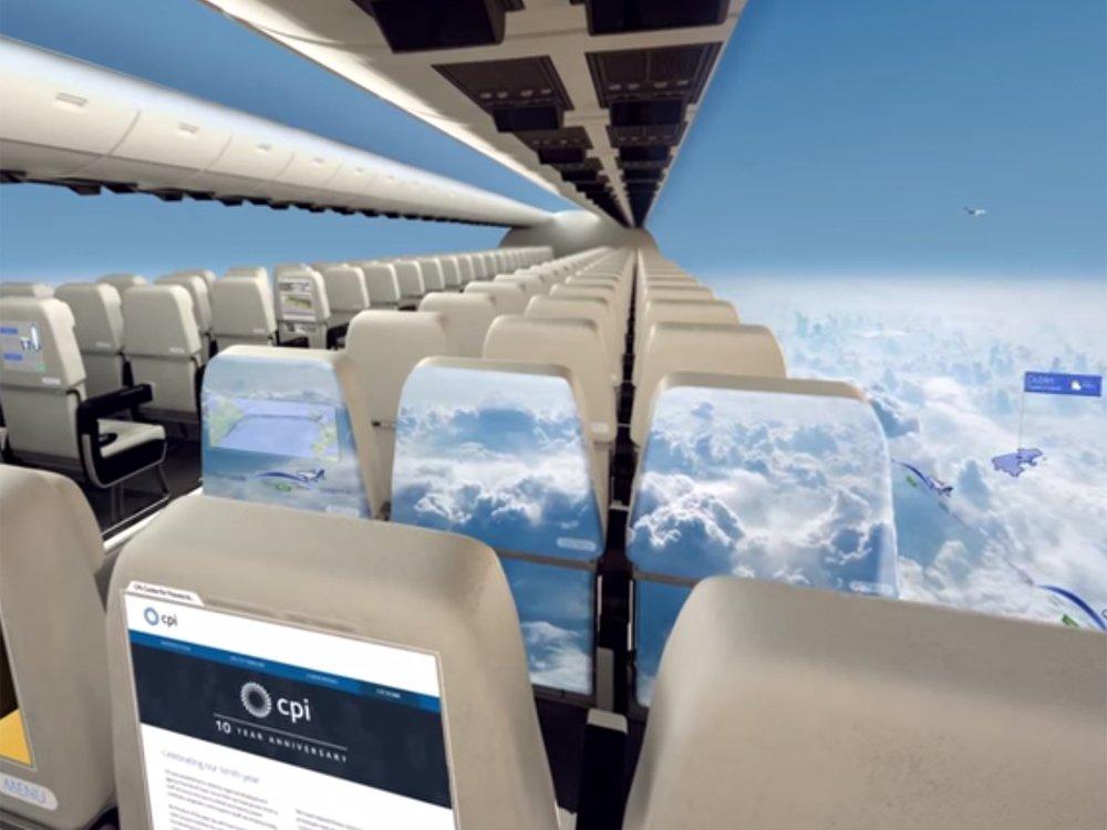 Studie von CPI zu fensterlosen Flugzeugen (Bild: Screenshot Youtube)