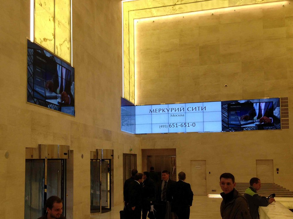 Videowall in the Merсuriy City Tower (Image: DigiSky)