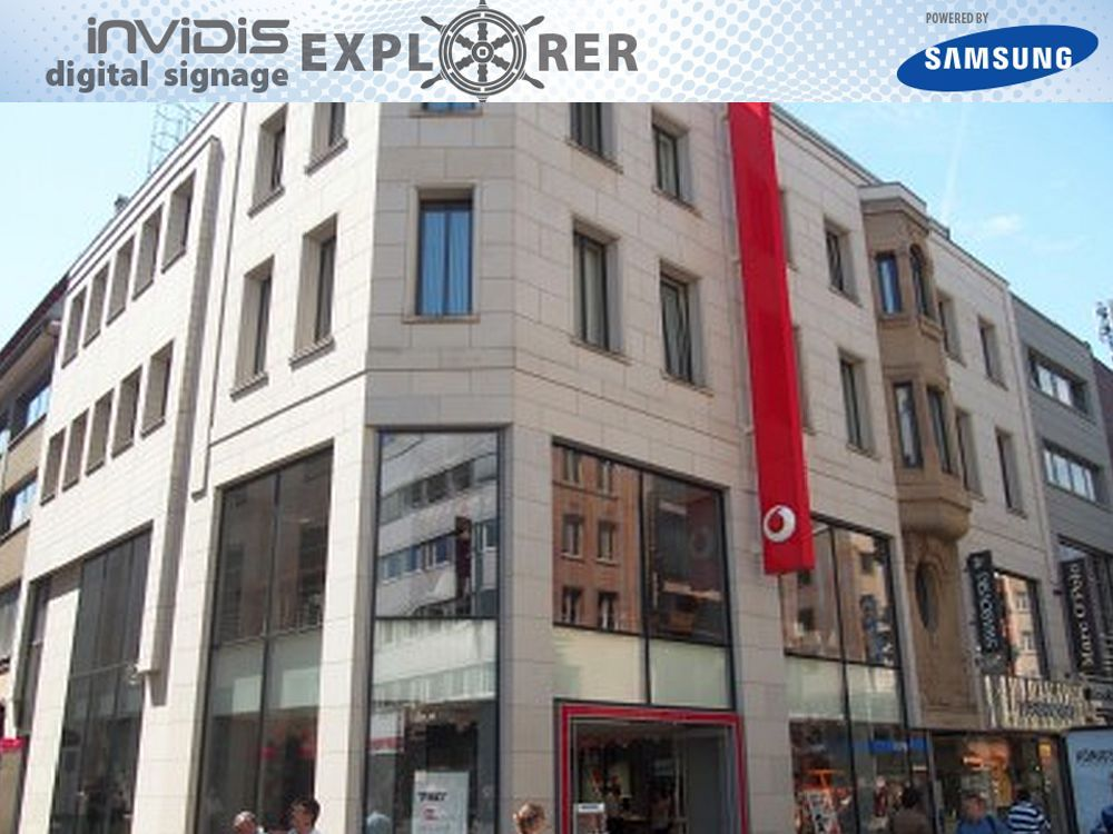 invidis digital signage explorer: Vodafone in Köln (Foto/ Grafik: invidis.de)