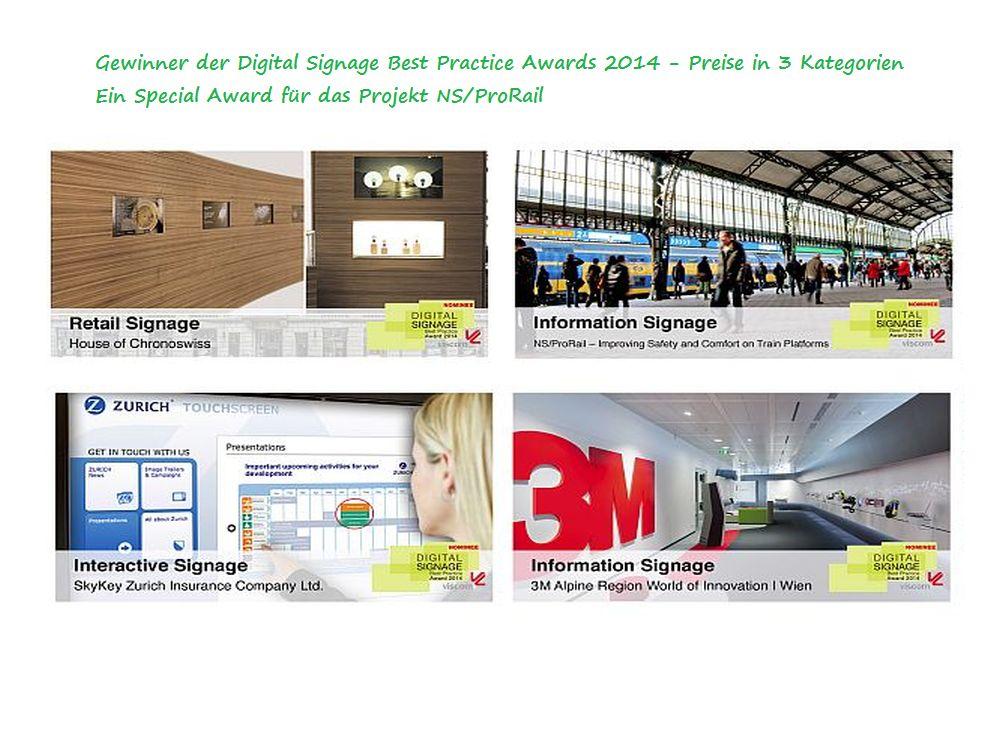 Die Gewinner der Digital Signage Best Practice Award 2014 (Montage: invidis.de)