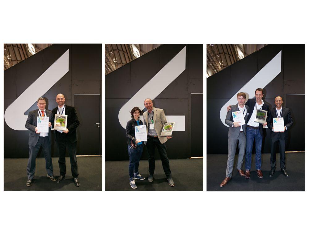 Gewinner der Kategorien Interactive Signgae, Information Signage und Retail Signage (v.l.n.r) (Fotos: Viscom; Montage: invidis.de)