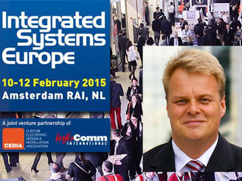Lars Thomsen hält die Opening Keynote auf der ISE 2015 (Screenshot: invidis)