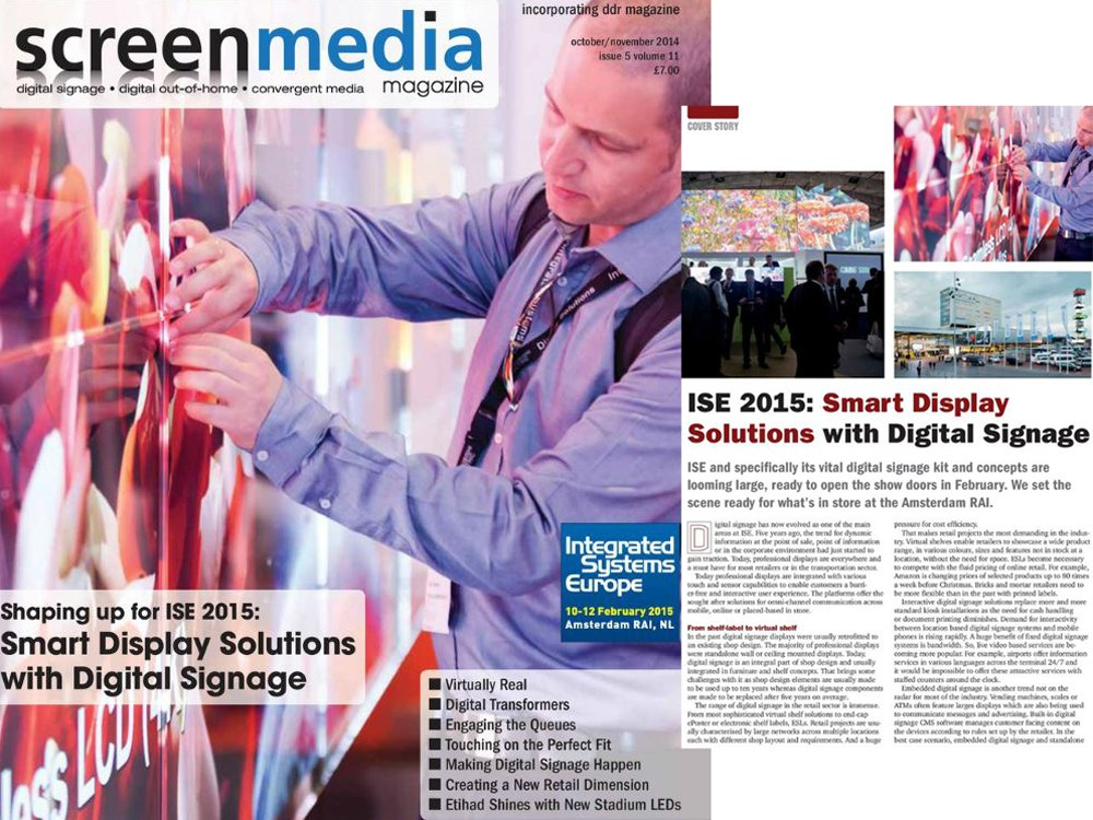 screenmedia cover story - ISE 2015: Smart display solutions with digital signage (Screenshot: invidis)