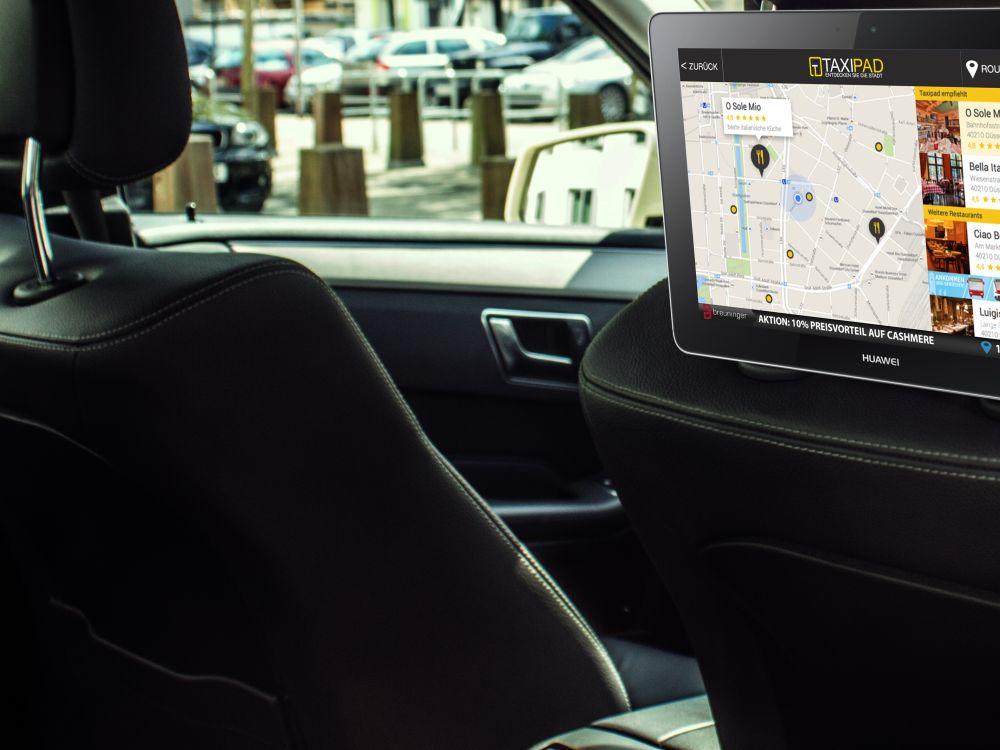Taxi mit Tablet-Screen für den Fahrgast (Foto: Taxipad)